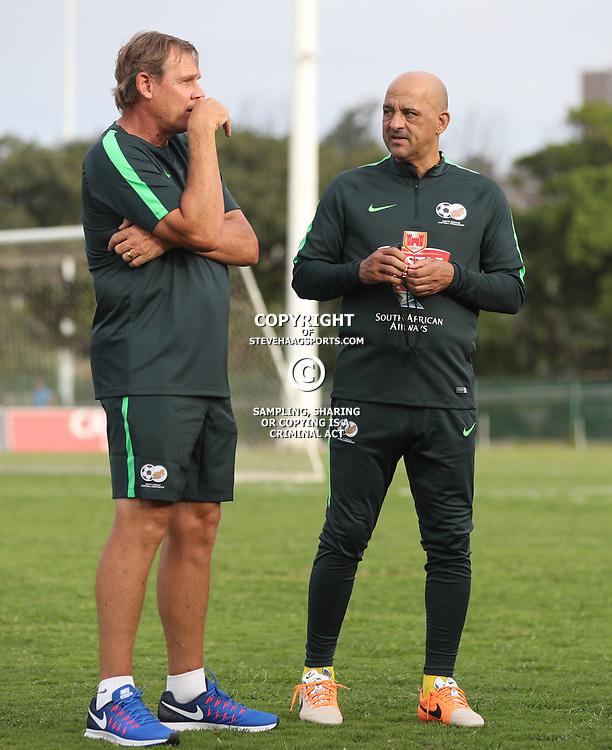 Neil Tovey chats to Owen da Gama (Assistant Coach) of Bafana Bafana during the Bafana Bafana Training at People's Park, Moses Mabhida Stadium in Durban,21st March 2017 (Steve Haag)