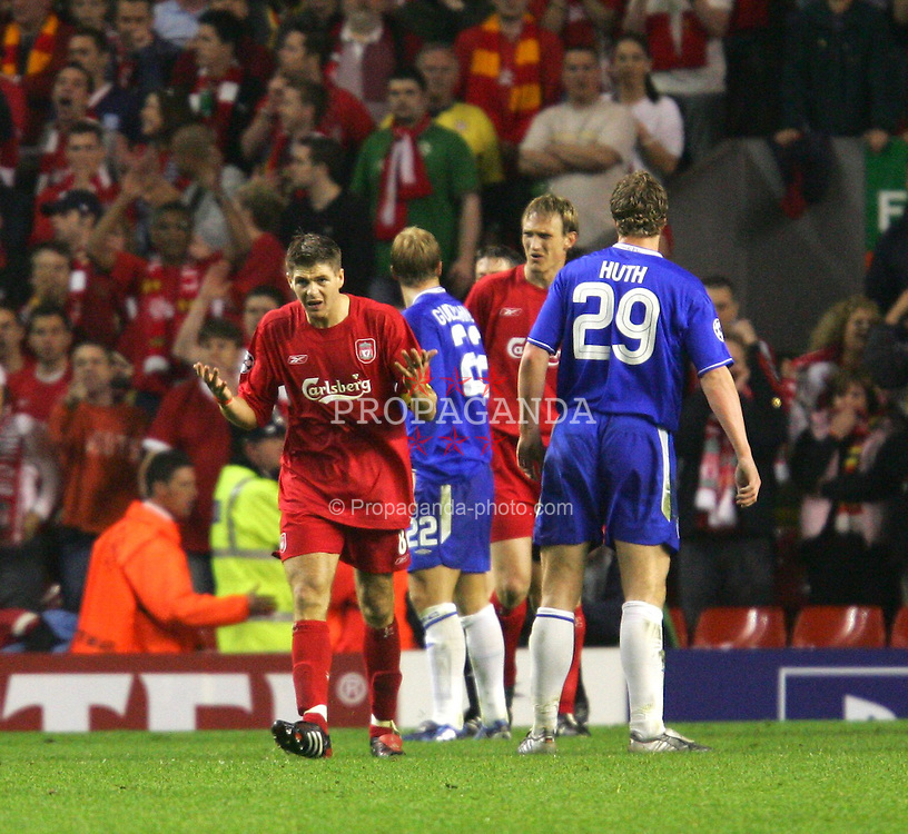 LIVERPOOL, ENGLAND. TUESDAY, MAY 3rd, 2005: Liverpool's Steven Gerrard urges his side to hang on against Chelsea during the UEFA Champions League Semi Final 2nd Leg at Anfield. (Pic by David Rawcliffe/Propaganda)
