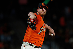 SAN FRANCISCO, CA - AUGUST 10: Will Smith #13 of the San Francisco Giants pitches against the Pittsburgh Pirates during the ninth inning at AT&T Park on August 10, 2018 in San Francisco, California. The San Francisco Giants defeated the Pittsburgh Pirates 13-10. (Photo by Jason O. Watson/Getty Images) *** Local Caption *** Will Smith