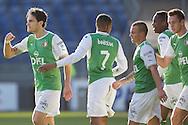 BREDA, NAC Breda - Feyenoord, voetbal Eredivisie, seizoen 2013-2014, 16-02-2014, Rat Verlegh Stadion, Feyenoord viert de 0-1 van Feyenoord speler Daryl Janmaat (L).