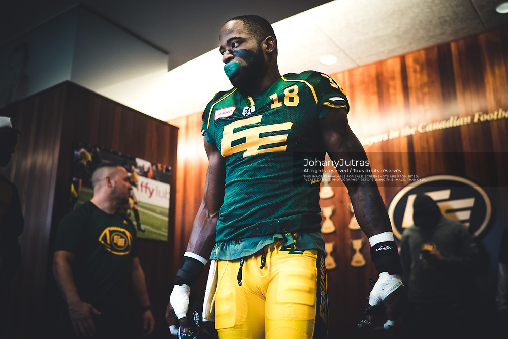 Cory Watson (18) of the Edmonton Eskimos before the game against the Calgary Stampeders at Commonwealth Stadium in Edmonton AB, Saturday, September 9, 2017. (Photo: Johany Jutras)
