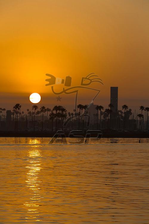 Long Beach, CA - Apr 19, 2015:  Sun rises on the Long Beach Grand Prix for the Tequila Patron Sports Car Racing Showcase at in Long Beach, CA.