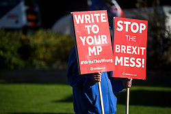 © Licensed to London News Pictures. 29/10/2018. London, UK. An anti-Brexit campaigner walks near the Houses of Parliament in London on the day that Chancellor Philip Hammond will present his Budget to Parliament. This will be the last budget before the UK is due to exit the European Union in March of 2019. Photo credit: Ben Cawthra/LNP