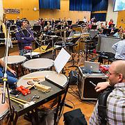NLD/Hilversum/20130930 - Repetitie Metropole Orkest voor concert, slagwerker Eddy Koopman in gesprek met