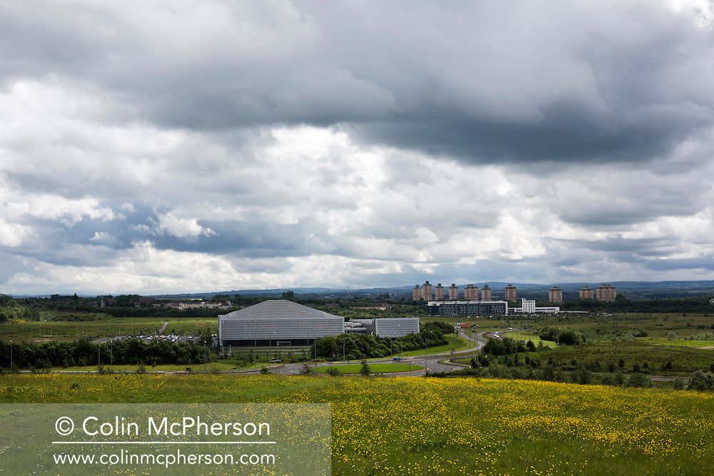 'Untitled, 2014' from the project 'The Fall and Rise of Ravenscraig' by photographer Colin McPherson.<br /> <br /> The photograph shows the 2010 built Ravenscraig Regional Sports Facility built on the site of the former steelworks at Ravenscraig.<br /> <br /> This project, photographed in 2014, looks at the topography of the post-industrial landscape at Ravenscraig, the site until its closure in 1992 of the largest hot strip steel mill in western Europe. In its current state, Ravenscraig is one of the largest derelict sites in Europe measuring over 1,125 acres (4.55 km2) in size, an area equivalent to 700 football pitches or twice the size of Monaco. It is currently being developed with a mix of housing, retail and the home of South Lanarkshire College and the Ravenscraig Regional Sports Facility.