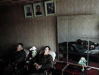North Korea Eye Surgery Workshop. Patients rest shortly after their cataract surgery in a guest house provided by the the government in down town Haeju.