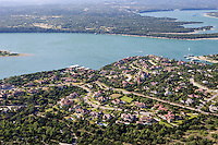 Aerial of the Village of Lakeway on Lake Travis features luxury homes near Austin, Texas.