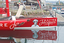 La Coruña ,Spain. Transat jacques vabre 2013, multi 50 maitre Jacques after loosing his starboard front hull