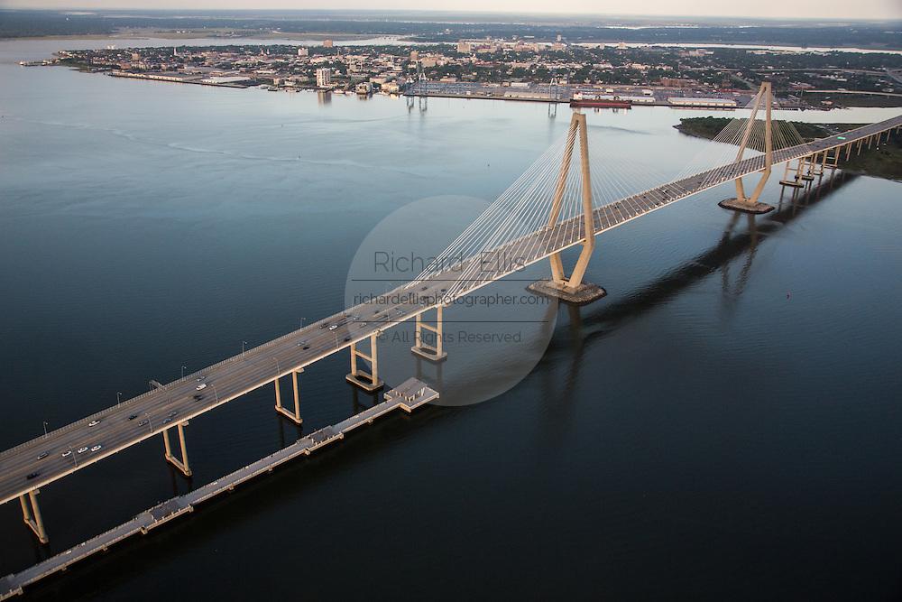 Aerial view of the Arthur Ravenel Jr. Bridge over the Cooper River in Charleston, SC