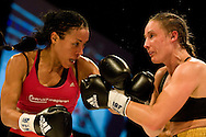 29.11.2014. Copenhagen, Denmark. Undisputed WBC/WBA/WBO/IBF female welterweight champion Cecilia Braekhus retained all four belts with a ten round unanimous decision over Jennifer Retzke at the Falconer Centeret in Copenhagen.Photo: © Ricardo Ramirez.
