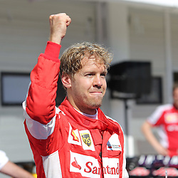 26.07.2015, Hungaroring, Budapest, HUN, FIA, Formel 1, Grand Prix von Ungarn, Rennen, im Bild Sebastian Vettel (Scuderia Ferrari) // during the race of the Hungarian Formula One Grand Prix at the Hungaroring in Budapest, Hungary on 2015/07/26. EXPA Pictures &copy; 2015, PhotoCredit: EXPA/ Eibner-Pressefoto/ Bermel<br /> <br /> *****ATTENTION - OUT of GER*****