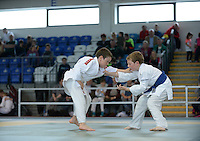 21 Aug 2016:  Aidan O'Connell, (blue belt), from Clare, in action against Michael Commins, (white belt), from Roscommon.  Judo Boys 30kg.  2016 Community Games National Festival 2016.  Athlone Institute of Technology, Athlone, Co. Westmeath. Picture: Caroline Quinn