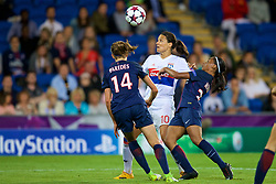 CARDIFF, WALES - Thursday, June 1, 2017: Olympique Lyonnais' Dzsenifer Marozsán [C] and Paris Saint-Germain's Irene Paredes [L] and Perle Morroni [R] during the UEFA Women's Champions League Final between Olympique Lyonnais and Paris Saint-Germain FC at the Cardiff City Stadium. (Pic by David Rawcliffe/Propaganda)
