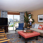 AVALON, NJ - JUNE 10, 2017: The living room on the first floor with deck access and views of the bay. 4738 Ocean Dr, Avalon, NJ. Credit: Albert Yee for the New York Times