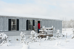 single wide mobile home during the Winter in South Carolina