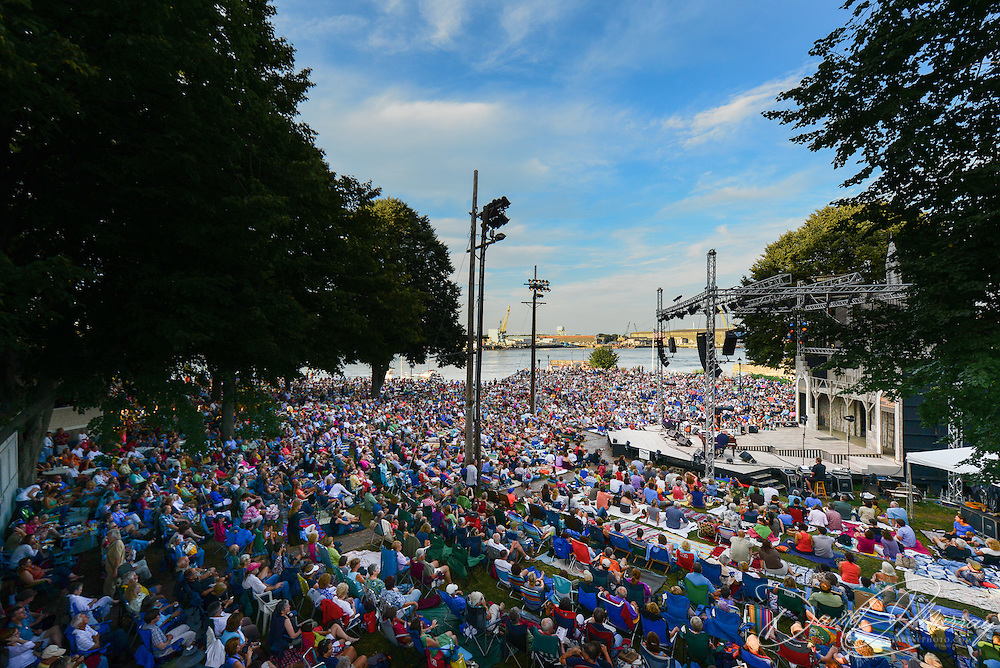 An overview of the Prescott Park Arts Festival scene in Portsmouth, NH, during a concert by Mary Chapin Carpenter and Marc Cohn in July, 2013