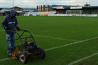 Photo: Javier Garcia/Back Page Images Mobile +447887 794393 Yeading FC General Views, 06/12/04<br />Yeading, of the Isthmian League, have been drawn at home to Newcastle in the 3rd Round of the FA Cup<br />The groundman prepares the pitch