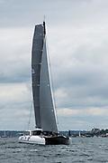 Arethusa sailing at the start of the Newport Bermuda Race.