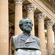 Bronze bust of Giuseppe (Fortunino Francesco) Verdi, Teatro Massimo, Palermo, Sicily, Italy