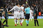 Tottenham Hostpur attacker Moussa Dembele (19) yellow card during the Champions League match between Tottenham Hotspur and Real Madrid at Wembley Stadium, London, England on 1 November 2017. Photo by Matthew Redman.