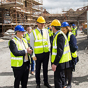 24.04.2017.       <br /> Minister for Housing Simon Coveney visiting the Lord Edward Street site in Limerick, where 81 units for social housing are nearing completion as part of the Limerick Regeneration programme.  57 of which are elderly units (1 and 2 bed apts and 2 bed houses) with the remainder (24) being family homes (3 bed)​. Picture: Alan Place.<br /> <br /> Pictured on site were, Senator Kieran O'Donnell, Minister for Housing Simon Coveney, Senator Maria Byrne and Senior Executive Architect at Limerick City Council, Seamus Hanrahan. Picture: Alan Place.