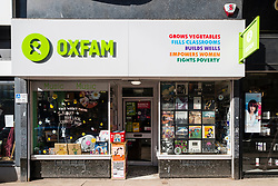 External view of Oxfam charity shop on Byres Road, West End of Glasgow, Scotland, United Kingdom