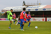 Forest Green Rovers Kaiyne Woolery(14) shoots at goal misses the target during the Vanarama National League first leg play off match between Dagenham and Redbridge and Forest Green Rovers at the London Borough of Barking and Dagenham Stadium, London, England on 4 May 2017. Photo by Shane Healey.