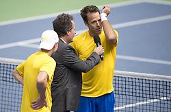 April 7, 2018 - Stockholm, SVERIGE - 180407 Sveriges Robert Lindstedt intervjuas efter tennismatchen i Davis Cup mellan Sverige och Portugal den 7 april 2018 i Stockholm  (Credit Image: © Jesper Zerman/Bildbyran via ZUMA Press)