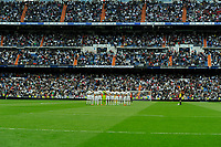 Real Madrid´s players and Almeria's players keep a silence minute for the earthquake in Nepal during 2014-15 La Liga match between Real Madrid and Almeria at Santiago Bernabeu stadium in Madrid, Spain. April 29, 2015. (ALTERPHOTOS/Luis Fernandez)