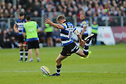 Bath fly half Rhys Priestland (10) coverts the ball 7-5 first half during the Aviva Premiership match between Bath Rugby and Gloucester Rugby at the Recreation Ground, Bath, United Kingdom on 29 October 2017. Photo by Gary Learmonth.