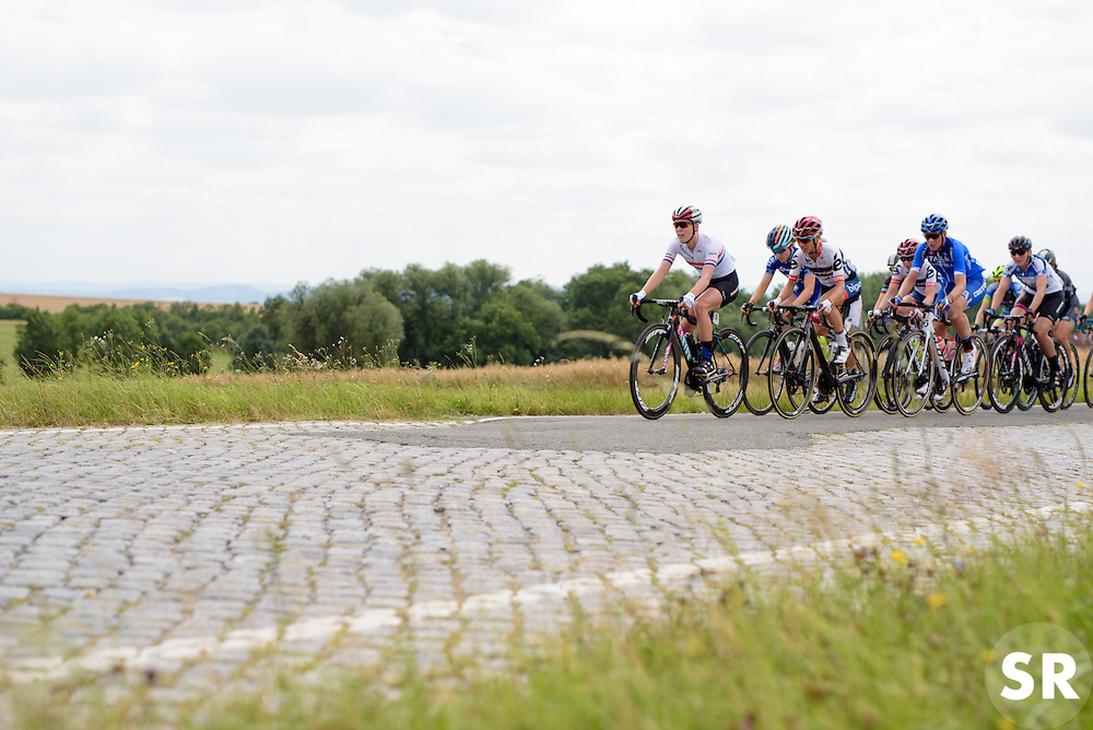 Race gets underway with a short section of cobbles at Thüringen Rundfarht 2016 - Stage 2 a 103km road race starting and finishing in Erfurt, Germany on 16th July 2016.