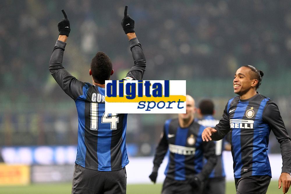 """Esultanza Fredy Guarin Inter dopo il gol 1-0.Goal celebration.Milano 09/12/2012 Stadio """"San Siro"""".Football Calcio Serie A 2012/13.Inter v Napoli.Foto Insidefoto Paolo Nucci."""