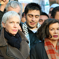 London Jan 3  Bianca Jagger and Annie Lennox take part in a  protest againt the bombing of Gaza by the Israely Army. Several hundred  shoes were thrown towards Downing Street before the rally in Trafalgar Square...Please telephone : +44 (0)845 0506211 for usage fees .***Licence Fee's Apply To All Image Use***.IMMEDIATE CONFIRMATION OF USAGE REQUIRED.*Unbylined uses will incur an additional discretionary fee!*.XianPix Pictures  Agency  tel +44 (0) 845 050 6211 e-mail sales@xianpix.com www.xianpix.com