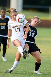 Virginia Cavaliers midfielder/forward Sinead Farrelly (17) wins possession from VCU Rams midfielder Stephanie Power (22).  The Virginia Cavaliers defeated the VCU Rams 5-0 in women's soccer at Klockner Stadium on the Grounds of the University of Virginia in Charlottesville, VA on August 31, 2008.