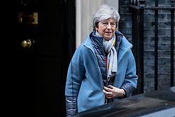 © Licensed to London News Pictures. 12/03/2019. London, UK. Prime Minister Theresa May leaves 10 Downing Street on her way to Parliament. MPs will get a second meaningful vote on Prime Minister Theresa May's Brexit deal this evening. Photo credit: Rob Pinney/LNP