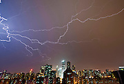 BEIJING, CHINA - AUGUST 07: (CHINA OUT)<br /> <br /> Lightening Strike Beijing<br /> <br />  Lightning hits the sky on August 7, 2015 in Beijing, China. Worst hailstorm and heavy rain stroke Beijing on Friday night.<br /> ©Exclusivepix Media