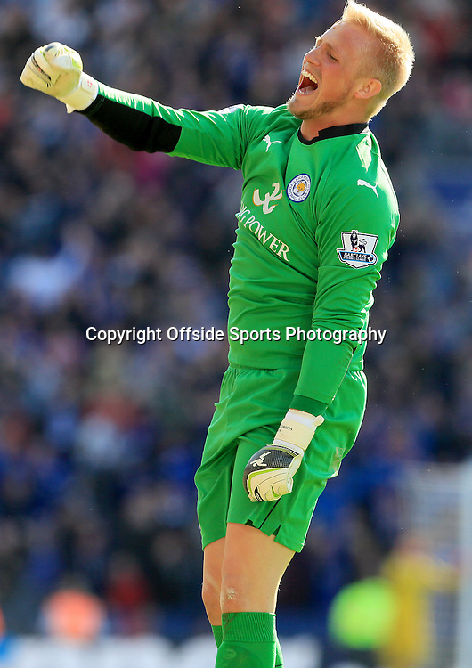 18th April 2015 - Barclays Premier League - Leicester City v Swansea - Kasper Schmeichel of Leicester City celebrates their 2nd goal (2-0)  - Photo: Paul Roberts / Offside.