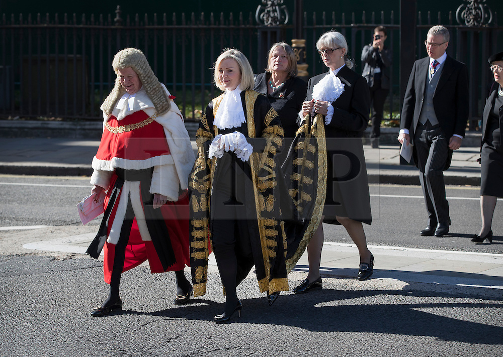 © Licensed to London News Pictures. 03/10/2016. London, UK. The Lord Chancellor and Secretary of State for Justice Liz Truss (R) walks with The Lord Chief Justice Baron Thomas of Cwmgiedd to Parliament after attending the annual Judges Service at Westminster Abbey. The Service heralds the start of the legal year in the United Kingdom The fourth term of the legal year, known as Michaelmas term. Photo credit: Peter Macdiarmid/LNP
