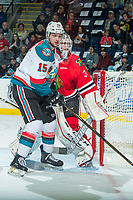 KELOWNA, CANADA - APRIL 8: Tomas Soustal #15 of the Kelowna Rockets looks for the puck in front of Cole Kehler #31 of the Portland Winterhawks on April 8, 2017 at Prospera Place in Kelowna, British Columbia, Canada.  (Photo by Marissa Baecker/Shoot the Breeze)  *** Local Caption ***