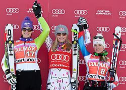 23.01.2011, Tofana, Cortina d Ampezzo, ITA, FIS World Cup Ski Alpin, Lady, Cortina, SuperG, im Bild Podium v.l. Maria Riesch (GER, #17, Platz 2) Lindsey Vonn (USA, #18, Platz 1) und Lara Gut (SUI, #8, Platz 3) // podium v.l. Maria Riesch (GER, place 2), Lindsey  Vonn (USA, place 1) and Lara Gut (SUI, place 3) during FIS Ski Worldcup ladies SuperG at pista Tofana in Cortina d Ampezzo, Italy on 23/1/2011. EXPA Pictures © 2011, PhotoCredit: EXPA/ J. Groder