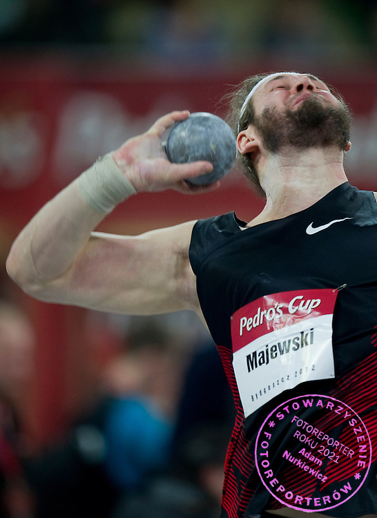 Tomasz Majewski of Poland competes in men's shot put during indoor athletics meeting Pedro's Cup 2012 at Luczniczka Hall in Bydgoszcz, Poland.<br /> <br /> Poland, Bydgoszcz, February 8, 2012.<br /> <br /> Picture also available in RAW (NEF) or TIFF format on special request.<br /> <br /> For editorial use only. Any commercial or promotional use requires permission.<br /> <br /> Mandatory credit:<br /> Photo by &copy; Adam Nurkiewicz / Mediasport