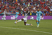 Manchester United Forward Romelu Lukaku shoots at goal during the International Champions Cup match between Barcelona and Manchester United at FedEx Field, Landover, United States on 26 July 2017.