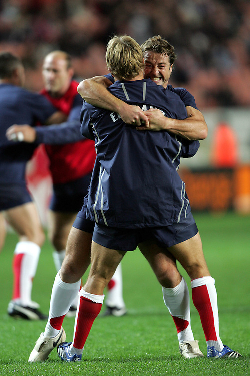 Andy Gormashall wrestles with Jonny Wilkinson. England v Tonga, Parc Des Princes, Paris, France, 28th Septemeber 2007. Rugby World Cup 2007.