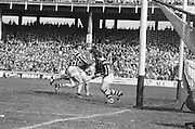 Kilkenny players attempt to block Cork from scoring during All Ireland Senior Hurling Final, Cork v Kilkenny in Croke Park on the 3rd September 1972. Kilkenny 3-24, Cork 5-11.