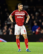 Rudy Gestede (14) of Middlesbrough during the EFL Sky Bet Championship match between Fulham and Middlesbrough at Craven Cottage, London, England on 17 January 2020.