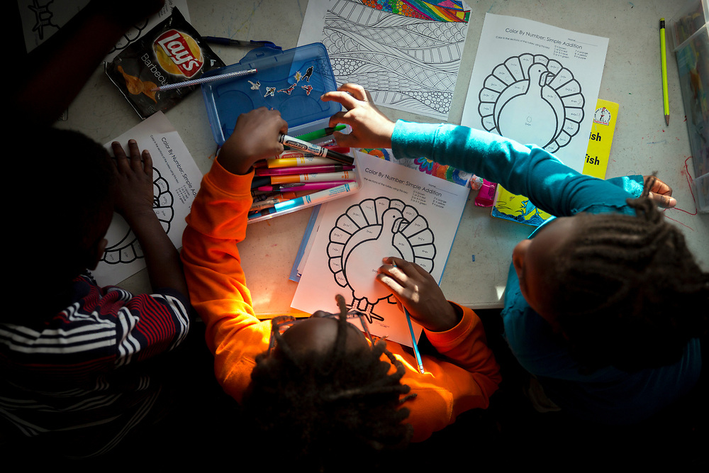 NOVEMBER, 16, 2017 - NORTH CHARLESTON, S.C.- Students at the Metanoia Youth Leadership Academy color by numbers during a math class at the school in North Charleston, South Carolina. (BNG/Stephen B. Morton)