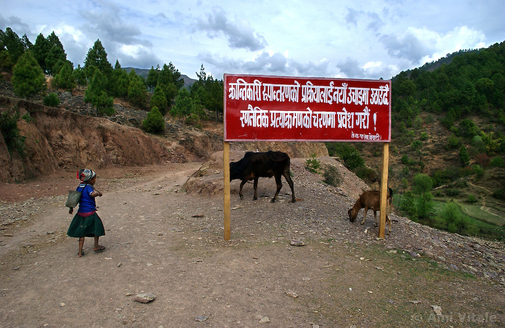 A banner exclaiming that the Maoists are in control and winning the war is erected after the King declared Emergency rule February 1, 2005 in a village in  Rolpa district in Western Nepal March 12, 2005. Ami Vitale