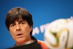 12.07.2014, Maracana, Rio de Janeiro, BRA, FIFA WM, Deutschland vs Argentinien, Finale, Pressekonferenz Deutschland, im Bild Bundestrainer Joachim Loew (GER) // German coach Joachim Loew during a press conferenc of team Germany prior to Final match between Germany and Argentina of the FIFA Worldcup Brazil 2014 at the Maracana in Rio de Janeiro, Brazil on 2014/07/12. EXPA Pictures © 2014, PhotoCredit: EXPA/ Eibner-Pressefoto/ Cezaro<br /> <br /> *****ATTENTION - OUT of GER*****