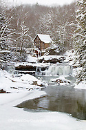 67395-04315 Glade Creek Grist Mill in winter, Babcock State Park, WV