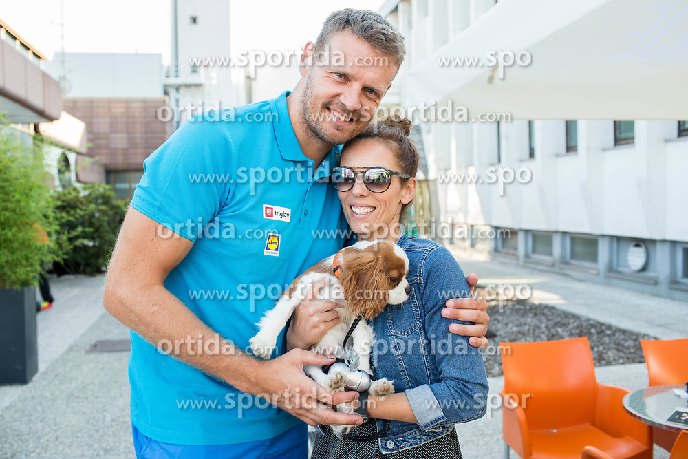 Miha Zupan (with his dog and wife) of Slovenian deaf team before departure to 23rd Summer Deaflympics in Samsun, Turkey, on July 14, 2017 at Airport Joze Pucnik, Brnik, Slovenia. Photo by Vid Ponikvar / Sportida